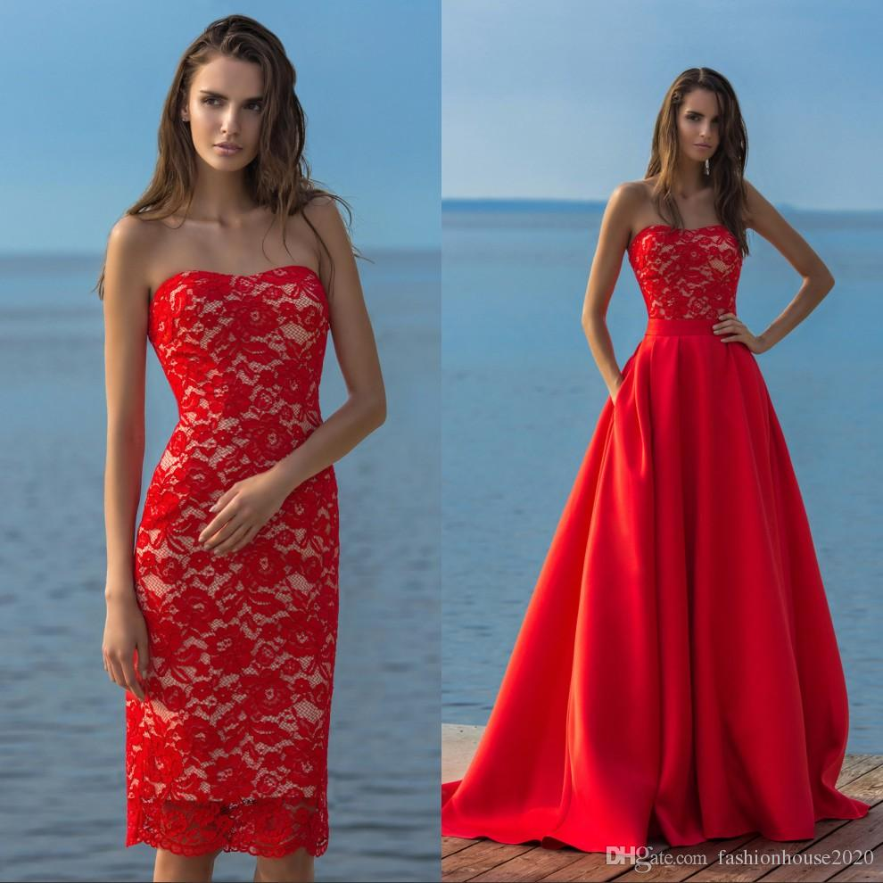 High Fashion Strapless Elegant Two Piece Red Wedding