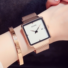 New Luxury Guou Brand Female Large dial Square Gold Mesh Steel Fashion Ladies Casual Watch Calendar quartz WristWatches