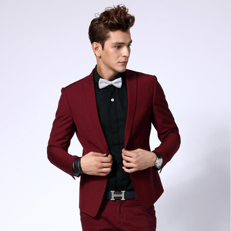2018 Fashion Burgundy Men Business Suits Men Wedding Prom Groom ...
