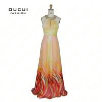 Printed Fabric 100 Beading Handwork Crystal Green Light Prom Dresses OL102111 Free Shipping