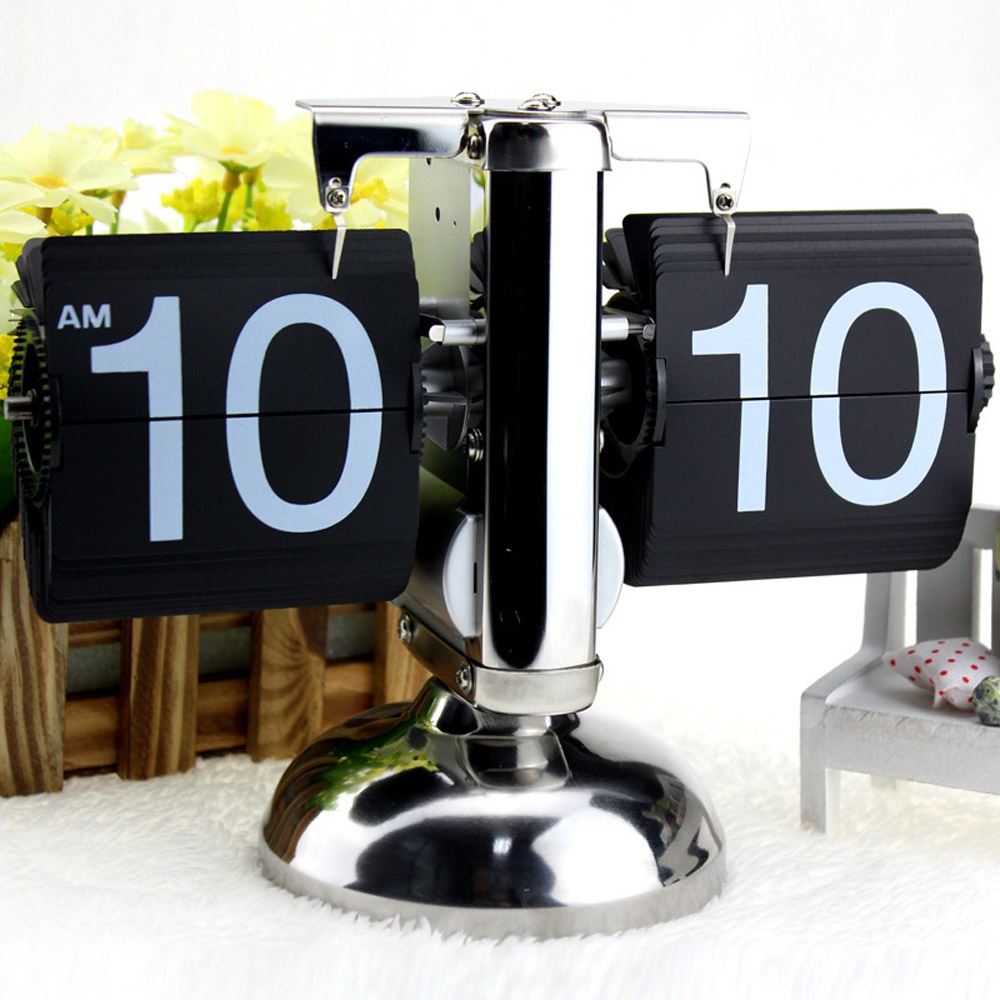 Black White Despertador Small Scale Table Clock Retro Flip Over Clock Stainless Steel Flip Internal Gear