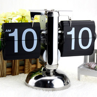Black/White Despertador Small Scale Table Clock Retro Flip Over Clock Stainless Steel Flip Internal Gear Operated Quartz Clock