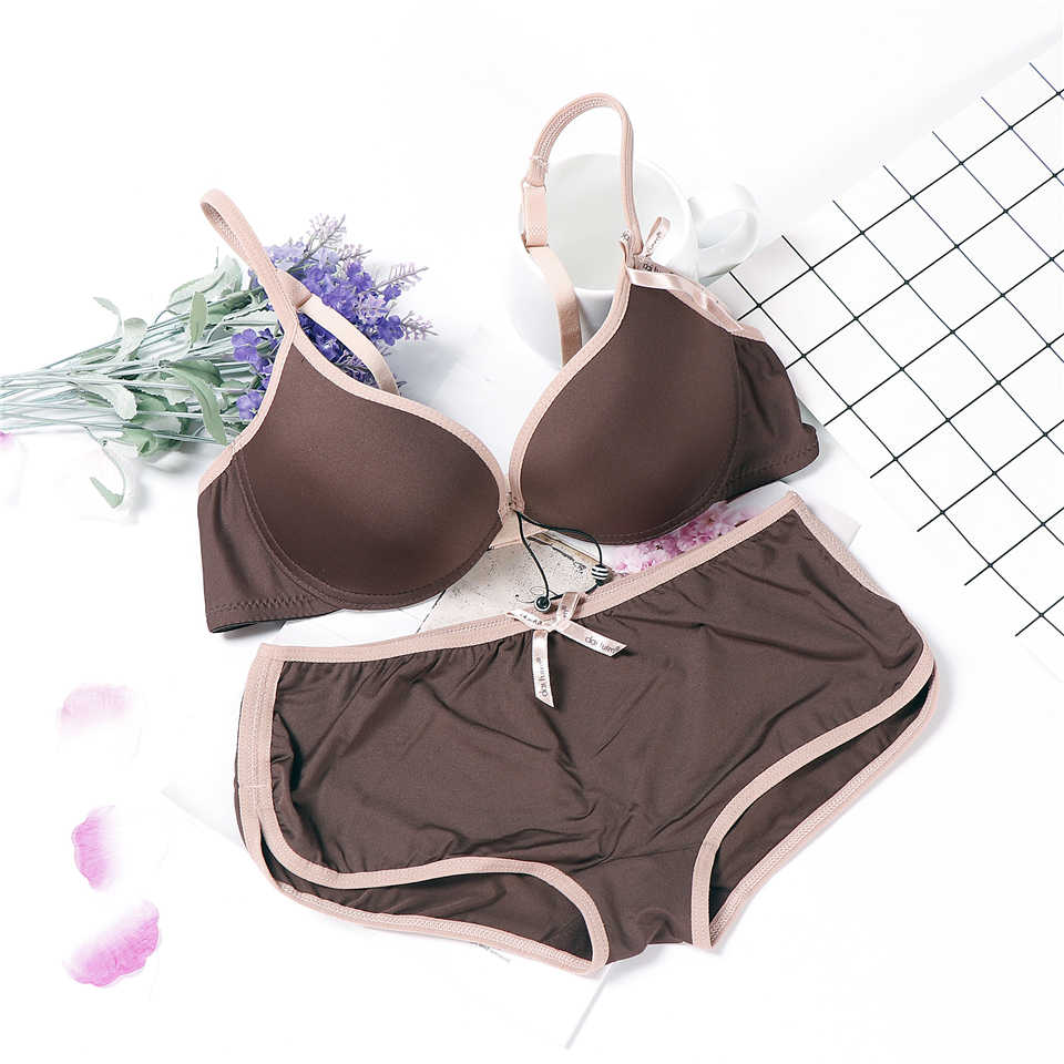 lingerie solid simple design japanese bra set wire lenceria push up underwear women AB cup sexy coffee black bra and panty set