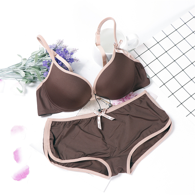 Đồ lót rắn đơn giản thiết kế nhật bản áo ngực đặt dây lenceria đẩy lên đồ lót phụ nữ AB cup sexy cà phê áo ngực màu đen và panty set