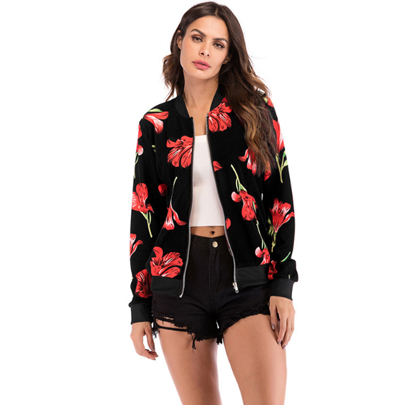 Newest Women Floral Print Long-sleeved   Jacket   Flower Casual Slim Bomber   Jackets   Autumn Winter Female Black   Basic     Jacket   and Coat