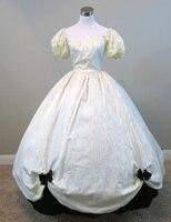 Белый Тафты Платье Гражданская война костюм ренессанс платье атласное платье