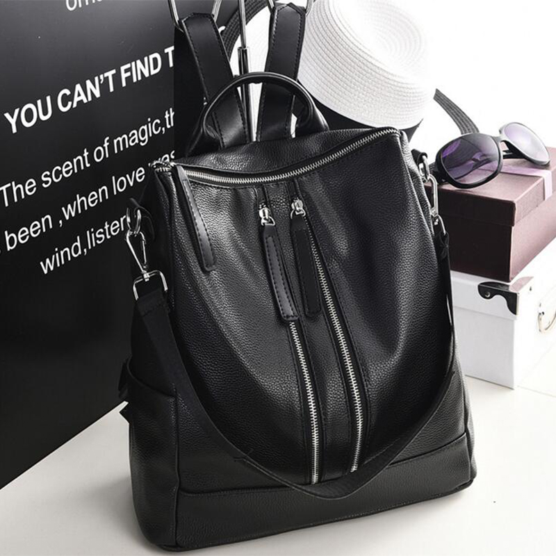 New Arrival Women Backpack Simple Casual Student School Bag Medium Size PU Leather Girls Daily Bags Ladies Shoulder Back Pack