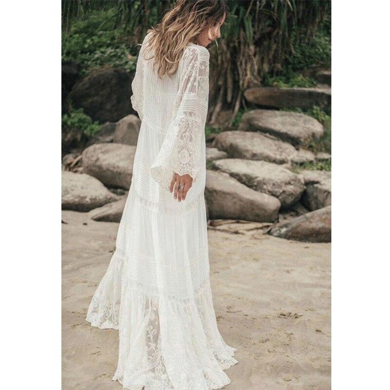 2019 lato projektant koronki siatki biały kobieta sukienka w dużym rozmiarze elegancki dekolt w serek z długim rękawem dwa kawałki sukienka wakacje wakacje Vestidos w Suknie od Odzież damska na  Grupa 2