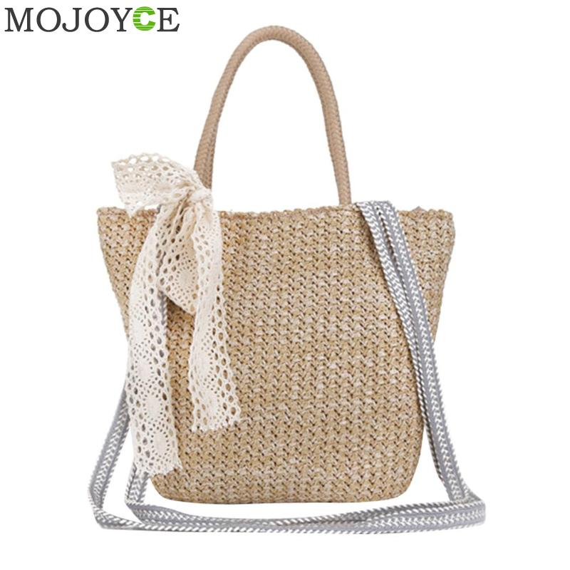 Retro Vintage Bow Designer Straw Bag Summer Travelling Causal Beach Tote Bag Rattan Woven Holiday Women Handbag Crossbody Bag wegogo women handbag new thailand straw bag ladies travel holiday summer beach bohemian boho weaving woven straw tote bag