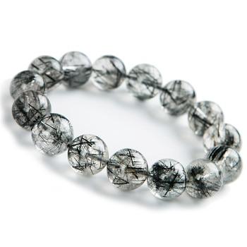 15mm Natural Black Rutilated Quartz Crystal Round Bead Bracelets For Women And Men Powerful Stretch Bracelet