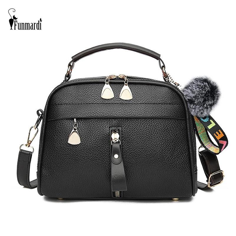 FUNMARDI Women Handbags Zipper Designer Shoulder Bag For Women Crossbody Bags PU Leather Bag Female Hairball Shell Bag WLHB1978