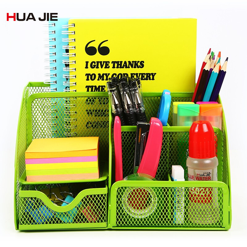 Metal Stationery Holder Multifunction Desktop Storage Box Large Capacity Wire Mesh Document Pen Holder Desk Organizer