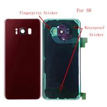 10 pçs oem para samsung galaxy s8 g950f s8 plus g955f voltar bateria capa de vidro traseiro habitação caso + câmera len imei impressão