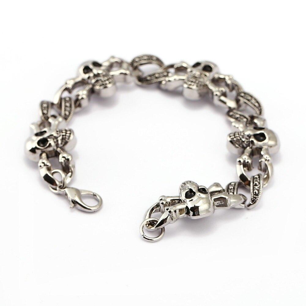( ^ ^)っМодные панк черепа металлический браслет для мужчин ...