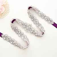 Crystal Bridal Belt Pearls Wedding Belt Handmade Silver Rhinestones Bridal Belt For Wedding Dresses A156S