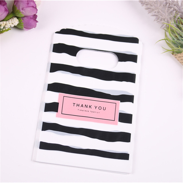 Wholesale 50pcs/lot New Design Black&white Striped Packaging Bags for Gift Small Plastic Jewellery Pouches with Thank You