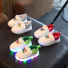 2017Hot New SpringWinter Kids Sneakers Fashion Luminous Lighted Colorful LED Lights Children PU Shoes Casual Flat Boy Girl Shoes