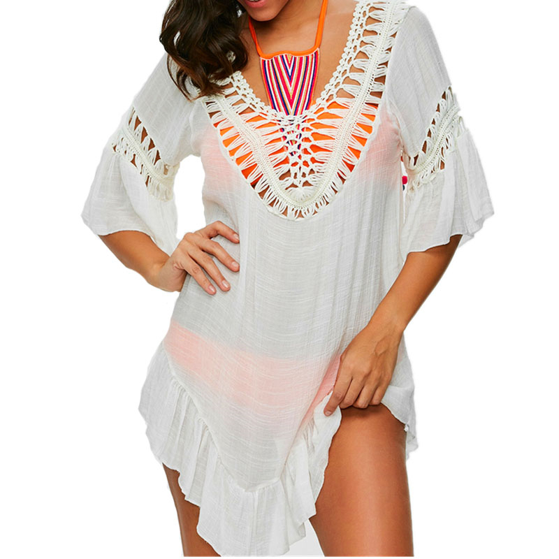 Bikini Cover Up Lace Hollow Crochet Swimsuit White V-Neck Beach Dress Women Sexy Kaftan Beach Tunic Dress 2019 Summer May Outlet