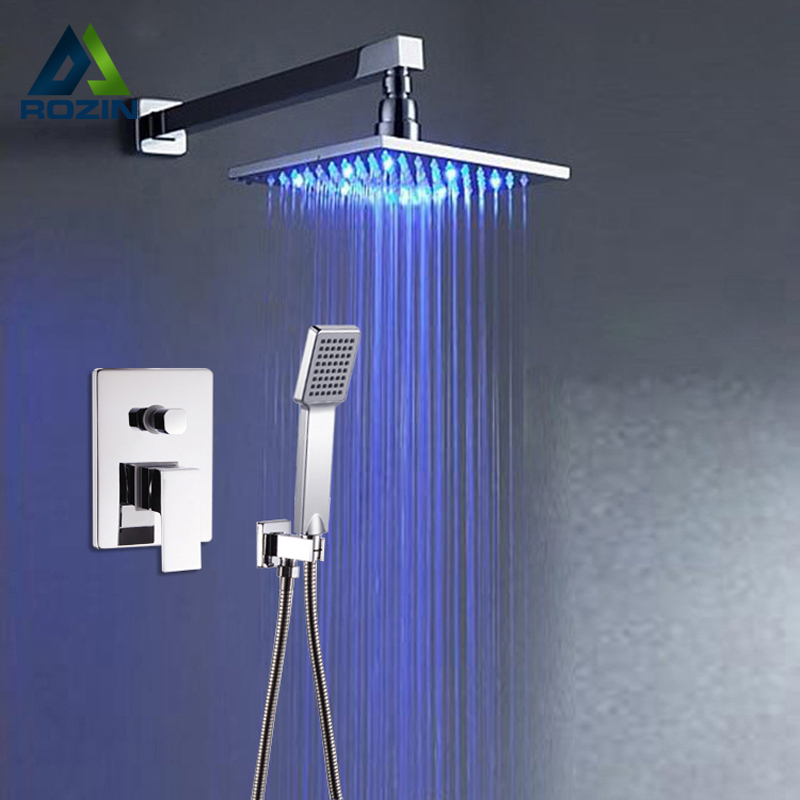 Luxury Led Color Changing 8 Rain Shower Head Bathroom Shower Faucet Set Single Handle with Hand Shower sognare new wall mounted bathroom bath shower faucet with handheld shower head chrome finish shower faucet set mixer tap d5205