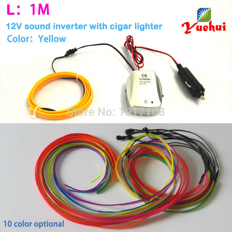 Hot Selling 1 Meter Yellow EL wire 10 Color Choice Neon Light Tube light For Party Decor For Car Auto Decoration By DC12V Driver