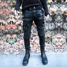 Новинка мужчин панк черные джинсы рок тощий карандаш брюки рваные джинсы тонкие длинные брюки для мужчин сценических костюмов