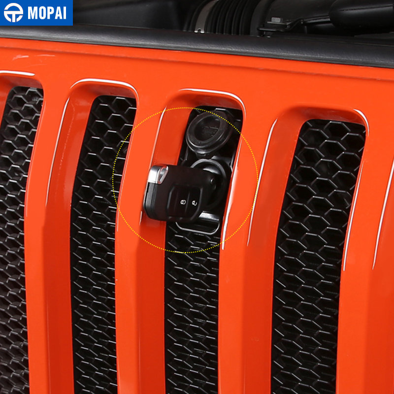 Image 2 - MOPAI Car Grilles Smart Locks Cover for Jeep Wrangler JL 2018 Car Hood Latch Catch Lock Kit for Jeep JL Wrangler Car Accessories-in Locks & Hardware from Automobiles & Motorcycles