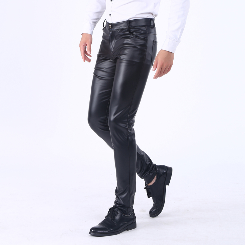 Thoshine Brand Spring Fall Winter Fleece PU Leather Pants High Waist Elastic Pencil Pants Slim Fit Soft Superior Street Trousers