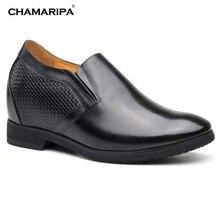 CHAMARIPA Increase Height 10.5cm/4.13 inch Men Elvator Shoes Hight Heel Shoes Black Gentlemen Taller Shoes For Men