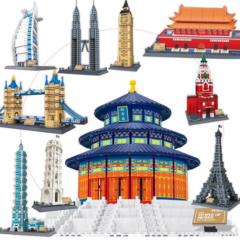 สถาปัตยกรรมที่มีชื่อเสียงของโลกรุ่น Eiffel Tower Taj Mahal มอสโก Legoing DIY ของเล่นประกอบ Building Block อิฐของขวัญเด็กคริสต์มาส-ใน บล็อก จาก ของเล่นและงานอดิเรก บน   1