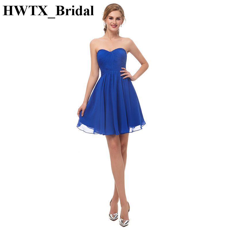 Charming Sweetheart Short Bridesmaid Dresses For Women 2018 Royal Blue Chiffon Sexy Backless Homecoming Party Dress For Wedding