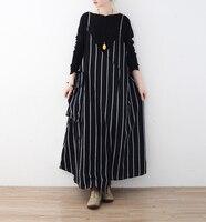 Women Retro Sleeveless Spaghetti Straps Casual Long Suspender Dress Summer Cotton Linen Loose Rompers Maxi Vestido Plus Size