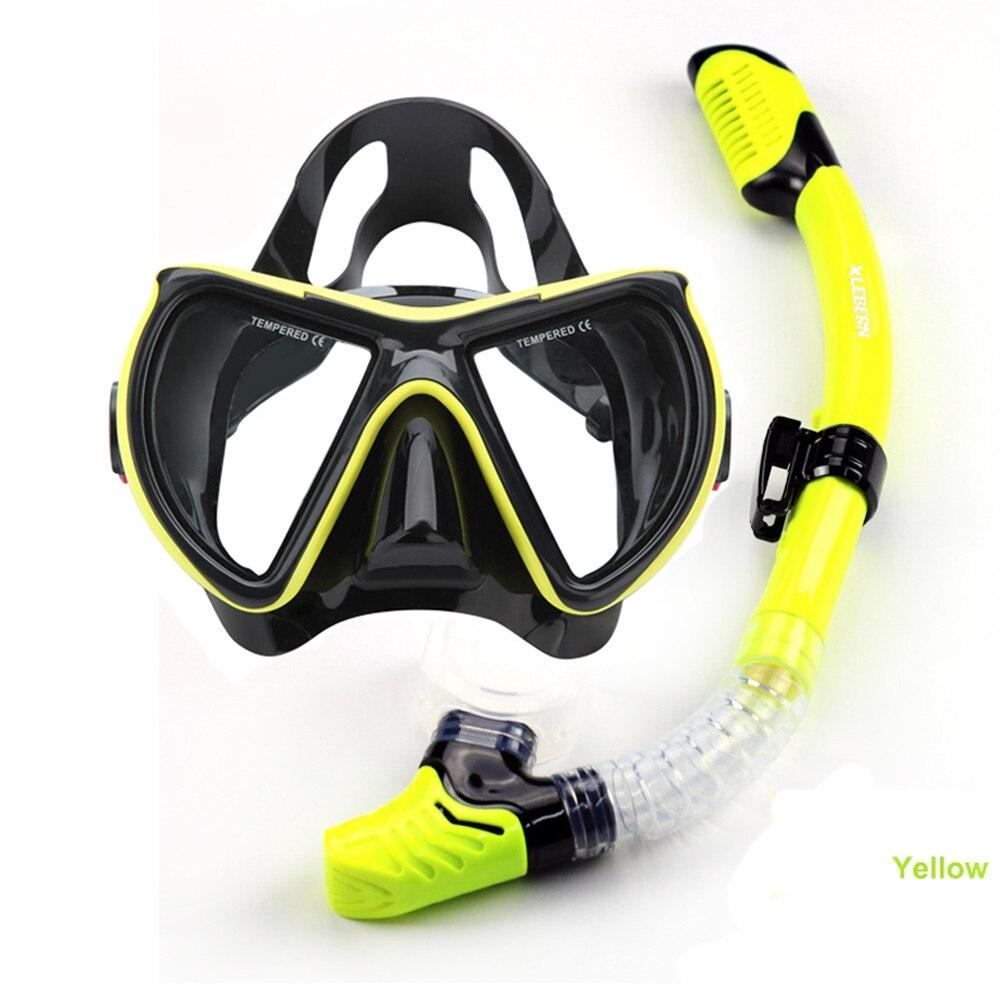 Top versão larga máscara de mergulho e snorkel set mergulho adulto máscara  de lente temperado mergulho máscara de silicone cor preta seca snorkel e43266dc8a