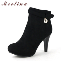 Plus Size 42 43 Women S Fashion Boots Pointed Toe Flock Ankle Boots Female Zip Thin