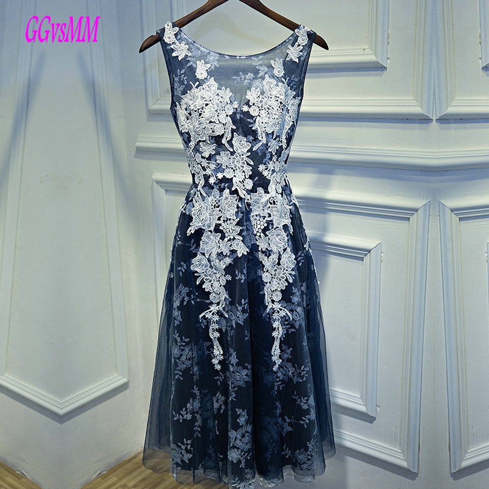 Fashion Dark Navy Prom Dresses Short 2019 New Prom Dress Scoop Tulle Appliques Knee Length Cheap Formal Women Party Gown Evening