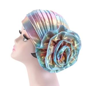 Image 2 - Laser Silky colorful flower turban for Women New Muslim Headscarf Hat Chemo Hat Headwrap Bonnet Salon Hat Accessories