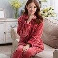 Conjuntos de Pijama de inverno Mulheres Outono Fofo Coral Fleece Cardigan Pijamas Pijamas noite das meninas Homewear Para As Mulheres Camisola