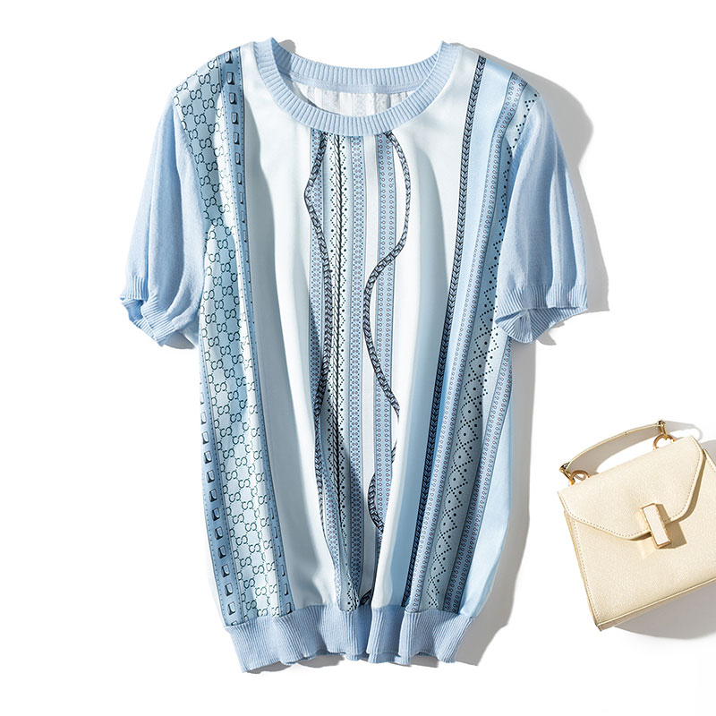 Luxury Designer Brand Knitted Blouses For Women Short Sleeve Vintage Chain Printed Satin Silk Spliced Knitted Blouses Shirts