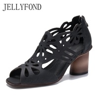 Vintage Style 2018 Brand Designer Summer Shoes Woman Handmade Genuine Leather Cuts Out High Heels Gladiator