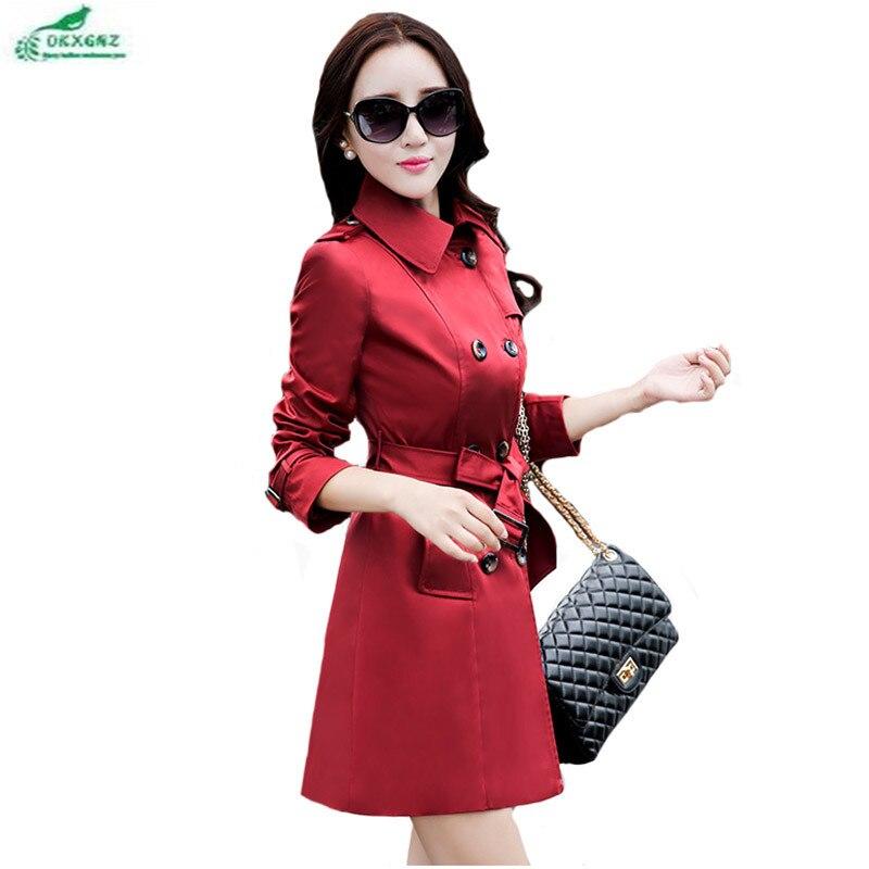 OKXGNZ Trench Coat 2017 New Spring and Autumn Fashion Leisure Big Yards Women Coat Pure color slim Medium long Ms. Windbreaker
