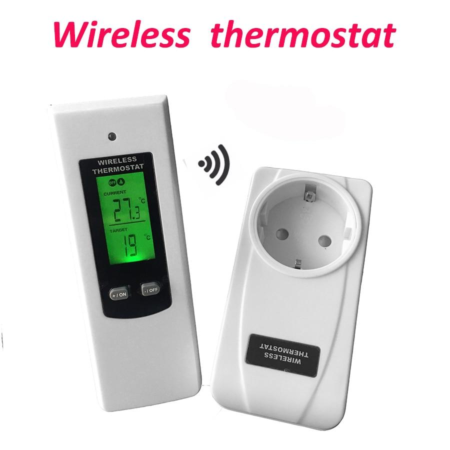 Digital termostato inalámbrica habitación controlador de temperatura de calefacción y refrigeración de la función con Control Remoto + retroiluminación de la pantalla LCD