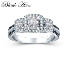 [BLACK AWN] 3.7g 925 Sterling Silver Jewelry Black&White Stone Wedding Rings for Women Engagement Ring Femme Bijoux Bague C430
