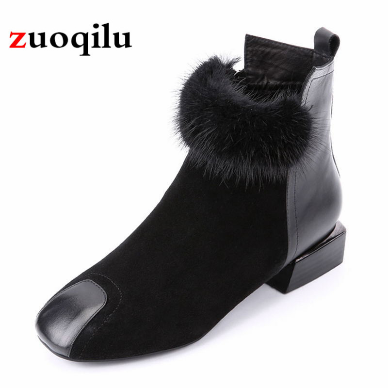 Autumn And Winter women boots thick heel square zipper boots black ankle boots women autumn shoes big size 35-42 цена