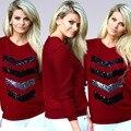 Red mujeres Casual camiseta manga llena de algodón Lycra mujeres camiseta marca moda geométrica con camiseta de calidad superior autorretrato