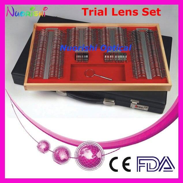 266L-JS 268 pz lente di prova oftalmico set shiny cerchio di metallo in pelle caso pranzo di trasporto più basso