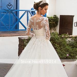 Image 5 - Jupe amovible à manches longues robe de mariée 2020 Scoop Appliques dentelle une ligne Vintage princesse mariée Vestido de Noiva K201