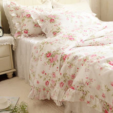 European Style Pastoral Bedding Set Flower Print Ruffle Duvet Cover Quilt Covers Elegant Embroidered Lace Yarn Bedspread Skirt недорого