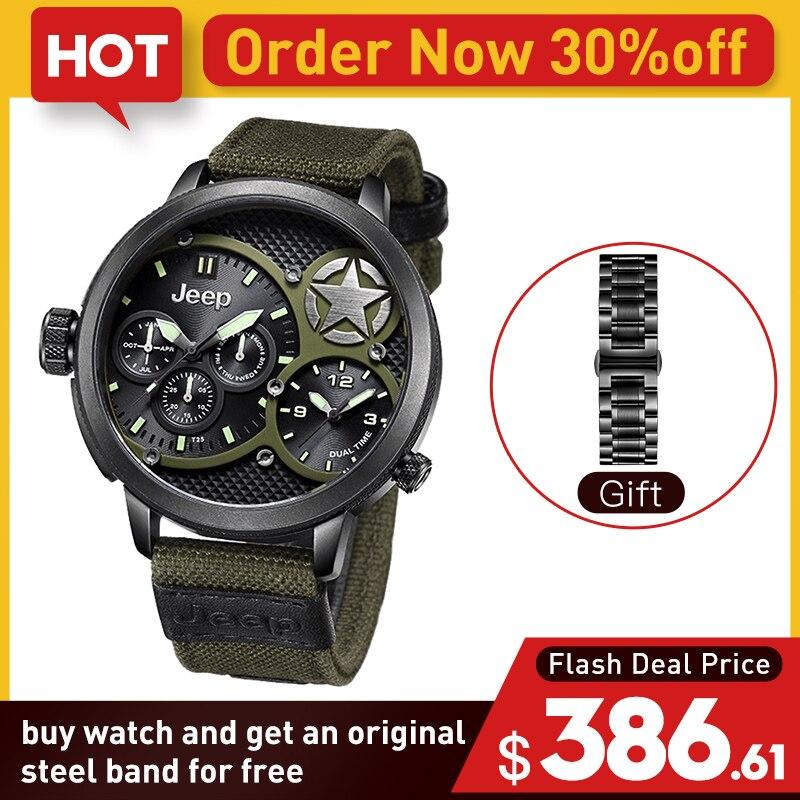 Джип оригинальные мужские часы военные уличные спортивные Кварцевые зеленые Кавас часы лучший бренд водостойкие роскошные часы JP15203