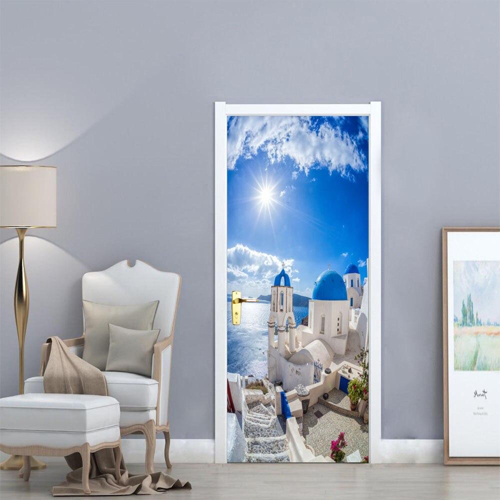 funlife Mediterranean Landscape Creative Door Stickers Bedroom Door Renovation Wall Posters Waterproof Wall Sticker