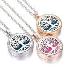 Новая ароматерапия подвеска диффузор розовое золото серебро 28 мм магнитный медальон с ароматом нержавеющая сталь Древо жизни ожерелье