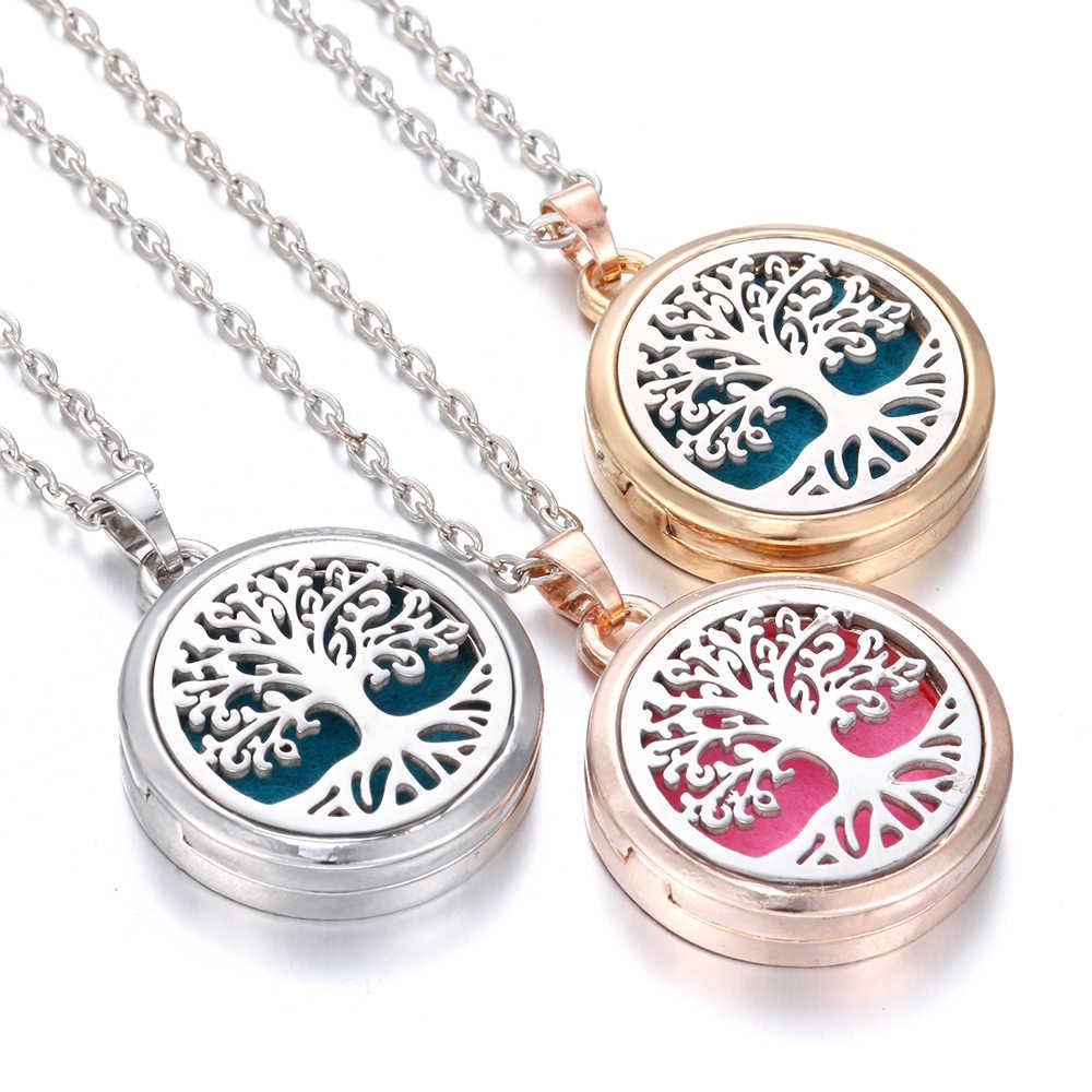 Nova aromaterapia colar difusor pingente rosa ouro prata 28mm aroma magnético medalhão de aço inoxidável árvore da vida colar
